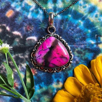 Pink Dendritic Opal Necklace (925 Stamped)