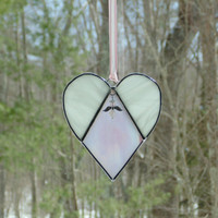 Angel heart suncatcher, sympathy heart, sympathy gift, condolence gift, stained glass suncatcher, pink heart, faith hope Christian