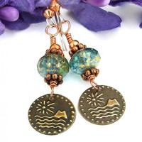 Vintage Brass Sun, Island and Ocean Charm Earrings, Aqua Czech Glass Copper Handmade Jewelry