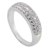 Womens CZ Ring .925 Sterling Silver Cubic Zirconia Band 6mm Wide
