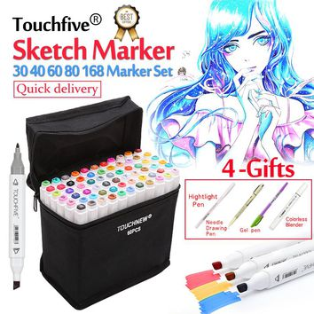 Touchfive 30/40/60/80/168Colors Pen Markers Set Dual Head Sketch Copic Markers Pen For Drawing Manga Markers Design Art Supplies
