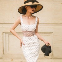 le palais vintage 2017 Summer Classic Hepburn Corset Type Pencil Dress Square Collar Patchwork High Rise Elastic Fabric Dress