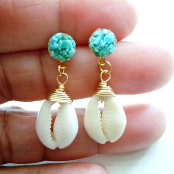 Turquoise and Cowry Shell Earrngs- Exotic Dangles - Mineral Jewelry