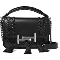 Tod's - Double T small tasseled whipstitched leather shoulder bag