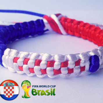 CROATIA flag WORLD CUP Brazil 2014 Blue White Red Unique Handmade Square Paracord Solomon Bar Macrame Hemp Knot Knotted Bracelet