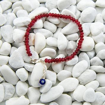 Handmade Red Jade Stacking Bracelet Evil Eye Charm