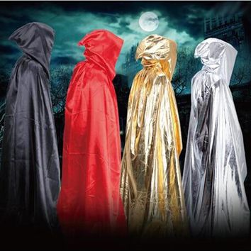 Free shipping Hooded Cowl Hood 4-color Medieval Mop the floor cloak of a god of death Cosplay Custome Halloween Fancy Dress Up
