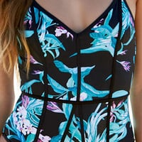 LA Hearts Binding Tropical Print One Piece Swimsuit at PacSun.com