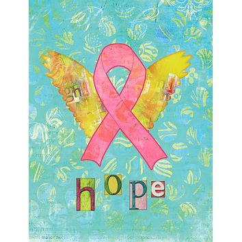 Hope Angel Breast Cancer Pink Ribbon Flag Canvas House Size SB3095CHF