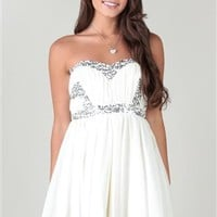 chiffon strapless dress with sweetheart neckline and high low hem
