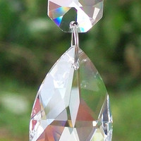 Set 5 Lead Chandelier Crystal Prisms, 1.5inch(38mm) Teardrop Crystals, Wedding Craft, DIY, Jewelry Making Supplies