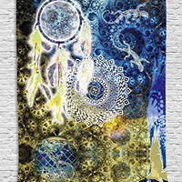 Mandala Decor Lace Indian Batik Hippie Zen Yoga Large Dreamcatcher Lizards Wall Hanging Dorm Asian Style Tapestry for Her Wife Girlfriend Bedroom Living Room Decorations, Yellow Blue White