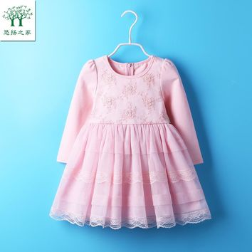 2017 Cute Baby Girl Dress Cotton Autumn spring Clothing For School Casual Wear Clothes long sleeve pink 18m tutu 3t 4t 5t 6t