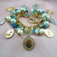 OUR LADY  - Charm Bracelet JuL 2    -  Virgin Mary  - St Therese Relic -  St Patrick- St Anthony - FREE Shipping