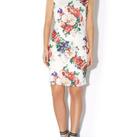 White Floral Sleeveless Mini A-line Dress