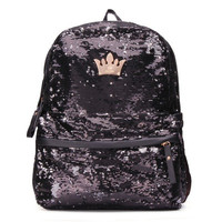 Fashion Crown Sequin Women Paillette Schoolbag Backpack