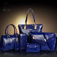 2016 Fashion Crocodile Handbag PU Leather Bag Women Handbags Crossbody Bag Handbag+Messenger Bag+rse+Wallet 6 sets WHC008462