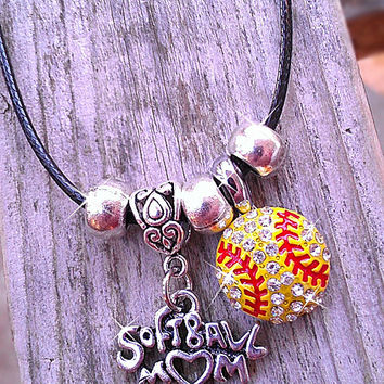 "Hanging Sports Mom Charm and Rhinestone Sports Ball on Black Leather 18"" - 20"" Necklace baseball, basketball, football, softball, soccer"