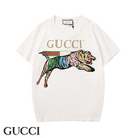 GUCCI New fashion letter stripe embroidery tiger leisure couple top t-shirt White