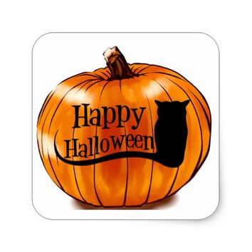 HAPPY HALLOWEEN GLOSSY SQUARE STICKERS
