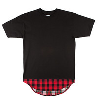 Plaid Rounded Hem Black Tee