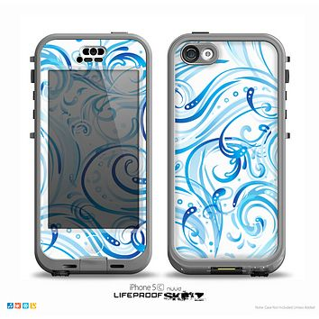The Wild Blue Swirly Vector Water Pattern on White Skin for the iPhone 5c nüüd LifeProof Case