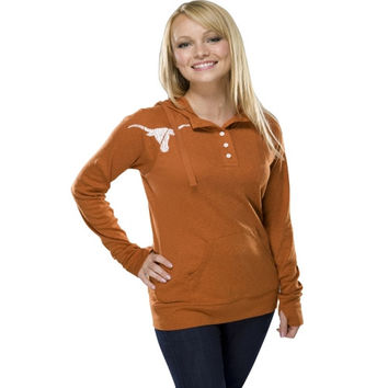 Texas Longhorns Women's Burnt Orange Big Cheer Henley Hooded Sweatshirt