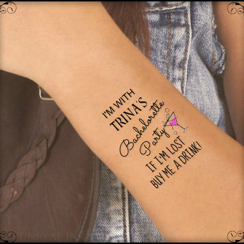 Temporary Tattoo Bachelorette Party 4 Custom Wrist Tattoos Thin Durable