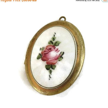 Porcelain Guilloche Cameo Photo Locket Pendant Painted Rose Vintage