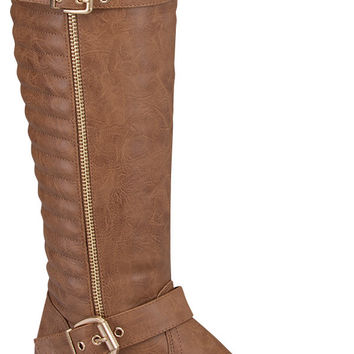 Tan Vegan Leather Boot with Quilt Design and Buckle Detail