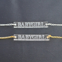Clear laser cut and engraved acrylic babygirl name or phrase bar necklace on silver or gold chain