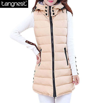 TANGNEST Winter Hooded Vest  Women 2016 New Fashion Waistcoat Plus Size Pockets Zipper Slim Long Style Candy Colors Vests WWV191