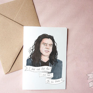 Tommy Wiseau watercolor portrait illustration greeting card Valentine The Room
