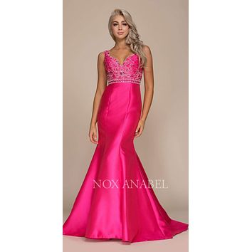 CLEARANCE - Fuchsia Satin Mermaid Gown with Beaded Bodice Plunging Neck (Size XL)