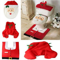 Christmas Decoration 3PCS Fancy Santa Toilet Seat Cover and Rug Bathroom Set