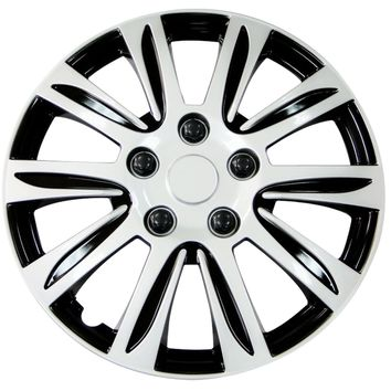 15 Inch Hubcaps Silver with Black Accents Rim Wheel Covers Hub Cap Full Lug Skin Set 547 (Set of 4 covers) (WH547-15S-B)