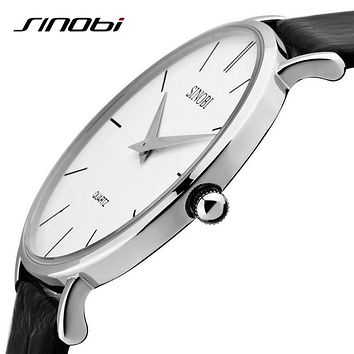 Super slim Quartz Casual Wristwatch Business JAPAN SINOBI Brand Leather Analog Quartz Watch Men's Fashion 2017 relojes hombre