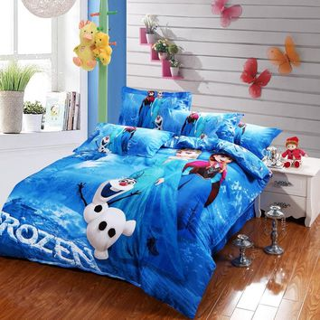 blue Frozen Elsa and Anna bedding sets DISNEY cartoon bedspread cotton bed duvet covers Girls bedroom decor Twin Queen King size