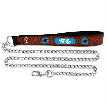 Carolina Panthers Football Leather 2.5mm Chain Leash - M