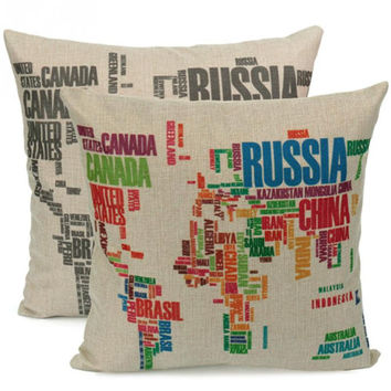 Fashion World Map Pattern Cotton Linen Square Throw Pillow Case Cushion Cover Home Decor