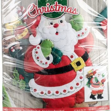 "Here Comes Santa Bucilla Felt Wall Hanging Applique Kit 15""X24"""