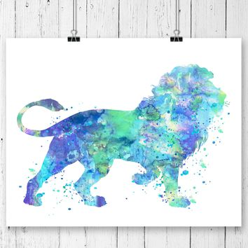 Lion Watercolor Art Print - Unframed