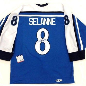 ICIKJNG Teemu Selanne Signed Autographed Team Finland Hockey Jersey (PSA/DNA COA)