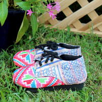 Little Girls Shoes in Bright Hmong Embroidery and Indigo Batik Oxford With Ties