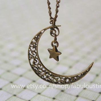 crescent moon necklace,star necklace,retro bronze little cute star and crescent moon pendant---N127