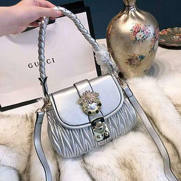 Miu Miu Fashion Women Leather Handbag Tote Shoulder Bag Crossbody Satchel Silvery