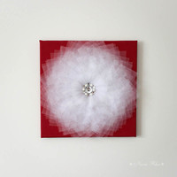 Red and White Wall Flower Decor Home Decoration 12X12 Canvas Art Wall Hanging 3D flower Art Nursery Art Baby Girl Room Decor