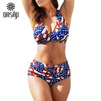 4th of July American Star Push Up Plus Size Bikini Set
