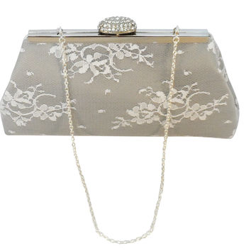 Platinum Grey, White Lace and Silver Bridal Clutch