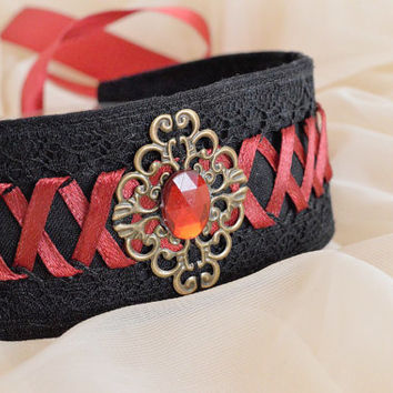 Blood drop - black gothic witch choker with resin stone and dark red lacing - lolita kitten pet play collar